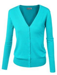 BIADANI Women Button Down Long Sleeve Basic Soft Knit Cardigan Sweater Aqua Small