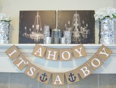 Etsy Ahoy It's a Boy banner sign