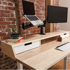 J2 Dual Monitor Arm affixed to the Jarvis Atwood Standing Desk - Natural Maple with White Drawers | Ergo Depot
