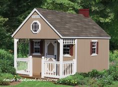 A Backyard Cabin comes with a built-in loft and covered porch. Customize the interior with paneling and laminate floor for a child's dream hideout! Amish Backyard Structures specializes in making your ideas come to life.