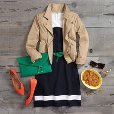 What to Wear: Fall Football Fashion  If tailgating means running into old college friends (or an old college flame, wink, wink) why not show up slightly dressed up? Get game-ready in a casual fit & flare dress—one with a sporty varsity stripe makes it not so formal—with a structured, neutral jacket for layering.
