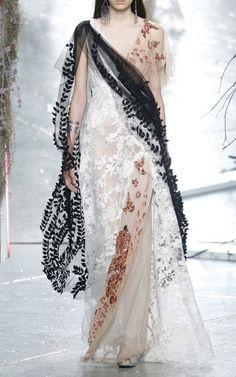 Hand Beaded Sequin And Velvet Draped Gown by Rodarte for Preorder on Moda Operandi