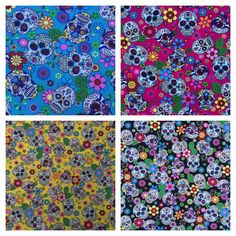 Sugar Skulls Gothic Tattoo Cotton Rose & Hubble Day Of The Dead Dress Fabric