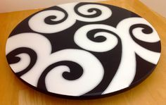 Lazy Susan handmade painted wood modern design by FucsiaDesigns