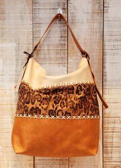 Leopard print hobo bag large leopard printed handbag by Percibal