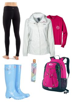 """""""rainy day"""" by hope-winchell ❤ liked on Polyvore featuring mode, lululemon, Hunter, The North Face en Vineyard Vines"""