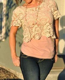 crop lace top, pastel tank, jeans.