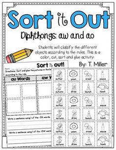 au and aw worksheets and activities sorting au and aw words by reading sentences circling and. Black Bedroom Furniture Sets. Home Design Ideas