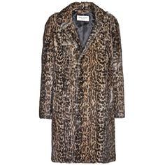 Saint Laurent Leopard-Print Marmot Fur Coat (355 530 UAH) ❤ liked on Polyvore featuring outerwear, coats, fur, jackets, brown, leopard print coat, brown fur coat, leopard coat, leopard fur coat and yves saint laurent
