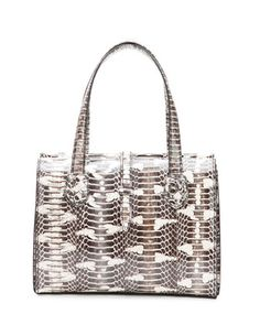 Snakeskin+Belted+Tote+Bag,+White+by+Bottega+Veneta+at+Neiman+Marcus.