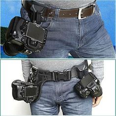 The Camera Holder secures the camera firmly to the photographer's hip and eliminates the neck, shoulder and back strain caused by cameras dangling from traditional neck straps or shoulder bags - good
