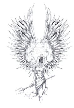 archangel tattoo design by shawncoss traditional art body art body -- pretty cool design, would take a lot of work.