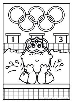 Lola zwemt mee op de Olympische Spelen. Weet jij hoe je de Olympische ringen in moet kleuren?