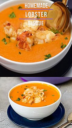 Easy Creamy Lobster Bisque Soup Recipe is a homemade gourmet dish made from scratch using shells, lobster stock, and lobster meat cooked in butter. Ditch dining out at Red Lobster or Pappadeaux to stay in tonight with a bowl of this hot seafood soup! Easy Soup Recipes, Fish Recipes, Cooking Recipes, Healthy Recipes, Keto Recipes, Easy Lobster Recipes, Vitamix Soup Recipes, Summer Soup Recipes, Seafood Soup Recipes