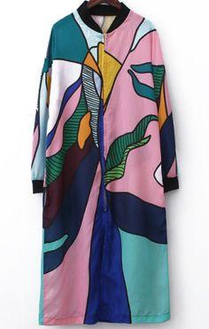 Multicolor Long Sleeve Zipper Floral Dress