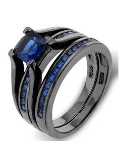 Our Beautiful Sapphire Blue Engagement Set. The Sterling Silver is also suitable for persons with sensitive skin to wear. - The big cubic zirconias are pronged to the jewelry item to secure from loosi