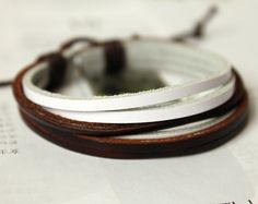Fashion Multilayer Brown and White Leather cuff Wrap Bracelet M-27