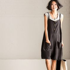 Black Shorts Casual Cotton Linen Overalls K1060A