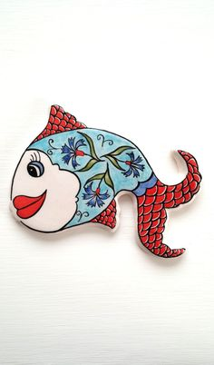 Fish tiles,mosaic tile,handmade ceramic tiles,fish,wall decor,red,blue,mosaic,sea tile.mermaid by HilalCiniCeramic on Etsy