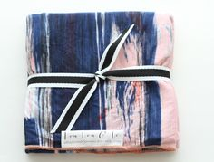 Image of Navy + Blush Pink Watercolor Knit Blanket