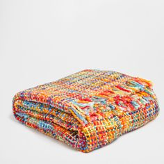Multicoloured Basic-Weave Blanket