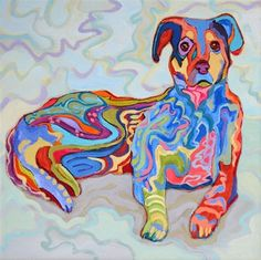 Street Mutt, contemporary abstracted dog painting, painting by artist Carolee Clark
