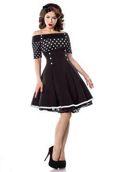 strapless vintage jurk polka dot