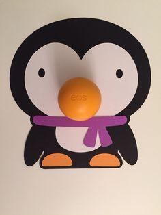 Penguin eos lip balm holder make with the Cricut Explore.