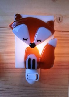 Nightlight, fox, fused glass, baby room decoration, nursery, shower gift, kid room, children