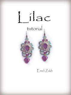 Lilac Beading tutorial.Beaded pattern earrings. ! PDF file containing instructions . #beadedjewelry #emeliezakhtutorialjewelry #crochettutorialpatternjewerly