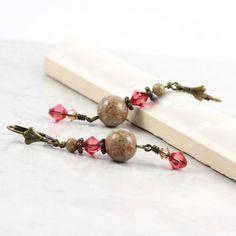 Autumn Jasper Earrings Pink Honeysuckle by AbacusBeadCreations, $22.00