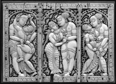 Erotic Panel Made of Ivory - 17th Century - Old Indian Arts