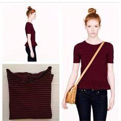 Jcrew stripe peplum top Stripe shirt sleeve peplum from jcrew. Worn only twice. Like brand new. J. Crew Tops