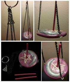 This is a hanging incense holder I made with polymer clay, black chain and glaze. - Home Decoration Fimo Clay, Polymer Clay Projects, Polymer Clay Art, Clay Crafts, Diy Incense Holder, Epoxy, Gatomon, Biscuit, Wiccan Crafts
