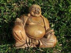 Laughing Buddha Buddha Wooden Figure Carving - Asian Tribal Art