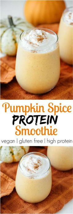 Pumpkin Spice Protein Smoothie- this tastes like fall in a glass and is healthy!
