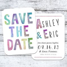 Watercolor Rainbow Save the Date Card  The Ashley  by inoroutmedia, $72.50