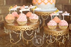 Sparkle Bows Pink and Gold Foil Confetti Cupcake by PaperCandee, $12.00