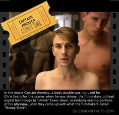 Captain America, Chris Evans  Oh, skinny Steve. I just can't wrap my brain around you.
