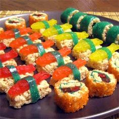 sushi I can eat. Rice krispie treats, swedish fish, gummy worms and fruit roll-ups.... yum!