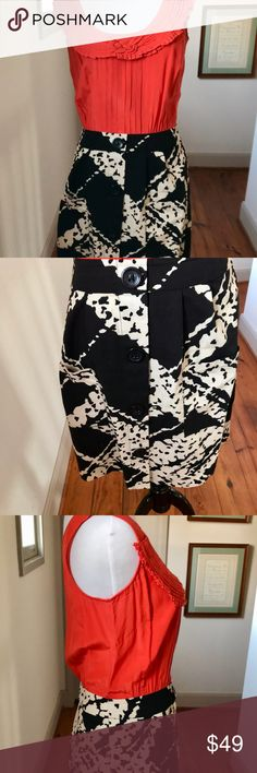 """Anthropologie Tabitha Bustling Avenues Dress Sz 4 Anthropologie Tabitha Bustling Avenues Dress.  Orange Sleeveless top, black and white skirt. Size 4. Measurements:  Length (shoulder to bottom edge): 34"""" Width (from under one arm to the other): 17"""". Waist: 24"""" .  Melon Top, Black and white skirt . Sleeveless top with an elaborate wovenneckline and pin tucks Skirt is a black and white abstract print with black buttons Top is silk, skirt is cotton . Side Zipper  Charming and feminine dress…"""