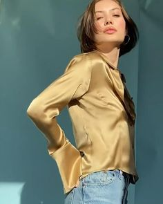 Silk Charmeuse, Camel, Chokers, Blouse, Sleeves, How To Wear, Tops, Style