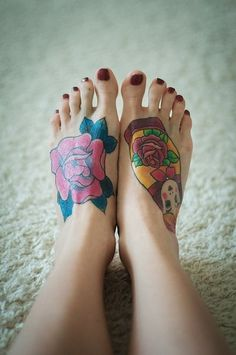Watercolor Flower and Doll Tattoo on Feet for Girl