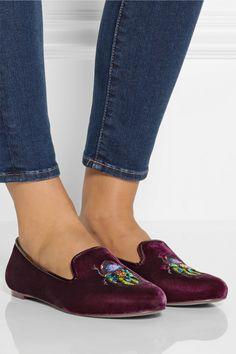 Tory Burch Easton embellished velvet slippers NET-A-PORTER.COM