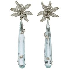 Brazilian Aquamarine White Gold Drop Earrings (146.584.255 VND) ❤ liked on Polyvore featuring jewelry, earrings, drop earrings, white, white jewelry, white gold jewellery, flower earrings and white gold flower earrings