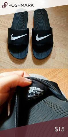 3696017935d06e Black size 11 Nike Slides Black Slides. Only tried on inside. My husband  bought