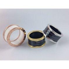 replica bvlgari classic new arrival black and white ceramic ring three colors silver and