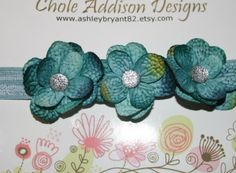 Medium headband small aqua flower rhinestone by ashleybryant82, $8.75