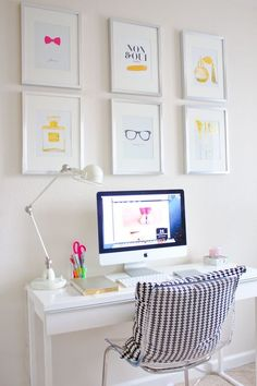 This space features a slim table, ideal for small spaces. Is a simple and white look best for thinking?