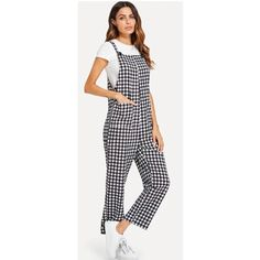 SHEIN Plaid Pocket Pinafore Gingham Overall Jumpsuit Check NWOT. Details: pleated, pocket Fabric: has no stretch Material: polyester Neckline: square, straps Pattern: gingham Gingham Jumpsuit, Overalls, Plaid, Fabric, Pants, Dresses, Fashion, Gingham, Tejido